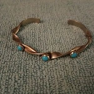 Sterling and turquoise twisted cuff bracelet
